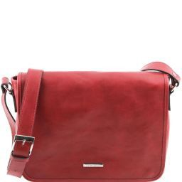 TL Messenger One compartment leather shoulder bag - Medium size Red TL141301