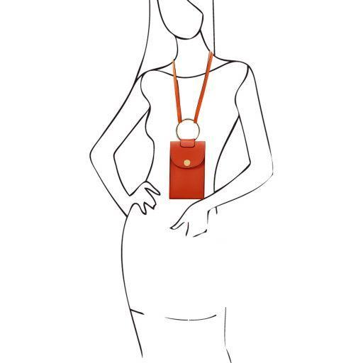 TL Bag Mini Schulter-Handytasche aus Leder Brandy TL141865