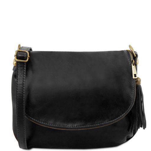 TL Bag Bolso en piel suave con borla y bandolera Negro TL141223