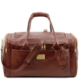 TL Voyager Travel leather bag with side pockets - Large size Brown TL141281