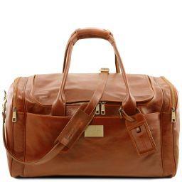 TL Voyager Reisetasche aus Leder mit 2 Reissverschluss-Seitentaschen - Gross Honig TL141281