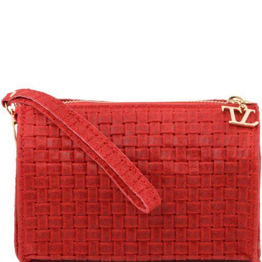 TL Bag Pochette in pelle stampa intrecciata e tracolla a catena Rosso TL141312