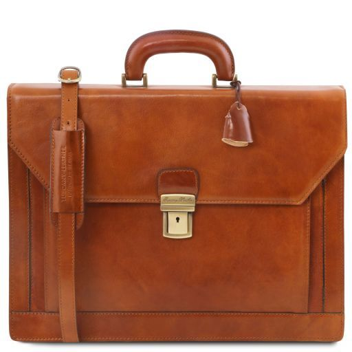 Napoli 2 compartments leather briefcase with front pocket Мед TL141348