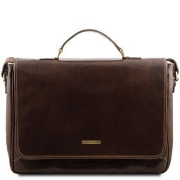 Padova Exclusive leather laptop case Dark Brown TL140891