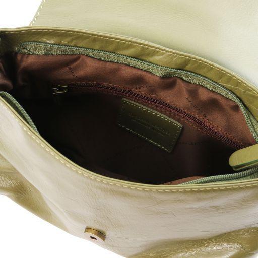 TL Bag Sac bandoulière besace en cuir souple avec pompon Vert Olive TL141223