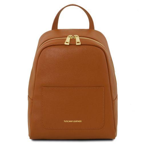 TL Bag Zaino piccolo da donna in pelle Saffiano Cognac TL141701