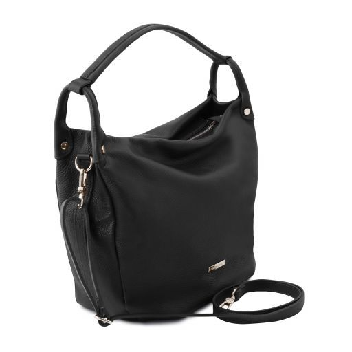 TL Bag Bolso hobo en piel suave Negro TL141855