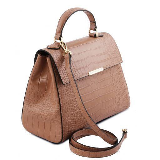 TL Bag Petite Sac bauletto en cuir effet croco Nude TL141887