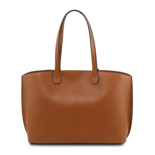 TL Bag Leather shopping bag Cognac TL141828