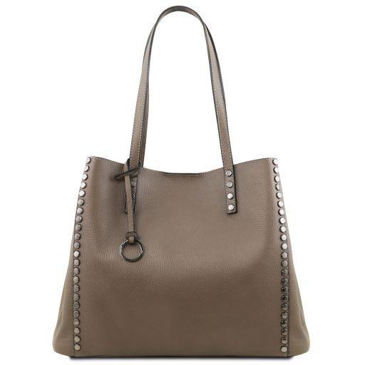 TL Bag Borsa shopping in pelle morbida Talpa scuro TL141735