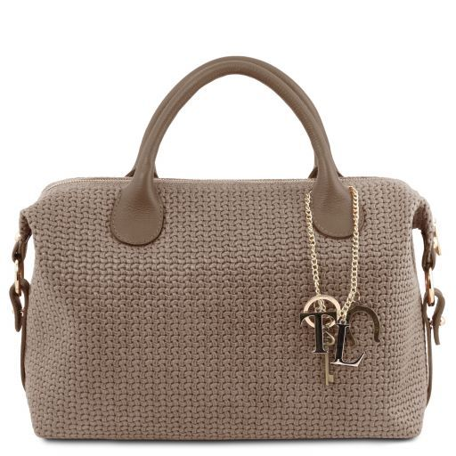 TL KeyLuck Maxi duffle bag in woven printed leather Dark Taupe TL141885