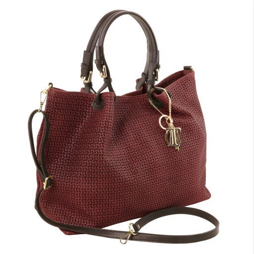 TL KeyLuck Woven printed leather TL SMART shopping bag - Large size Bordeaux TL141568