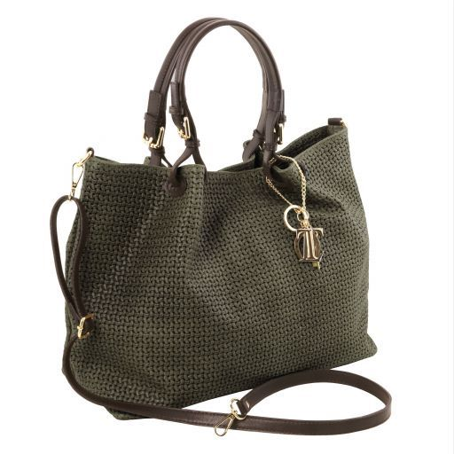 TL KeyLuck Woven printed leather TL SMART shopping bag - Large size Forest Green TL141568