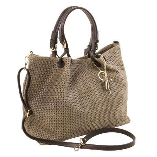 TL KeyLuck Woven printed leather TL SMART shopping bag - Large size Dark Taupe TL141568