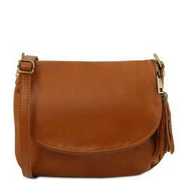 TL Bag Сумка на плечо с кисточкой из мягкой кожи Коньяк TL141223