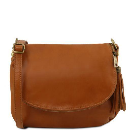 TL Bag Umhängetasche aus weichem Leder mit Quasten Cognac TL141223