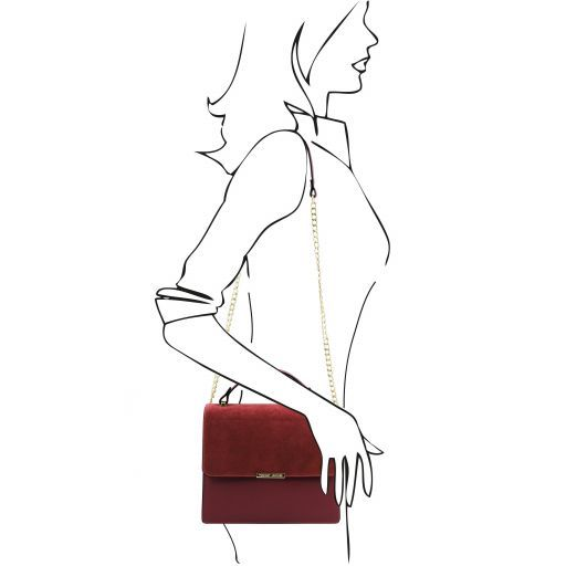 Irene Ledertasche mit Schulterkette Bordeaux TL141745