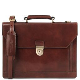 Cremona Leather briefcase 3 compartments Brown TL141732