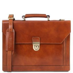 Cremona Leather briefcase 3 compartments Мед TL141732