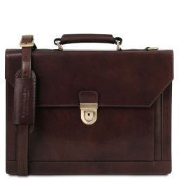 Cremona Leather briefcase 3 compartments Dark Brown TL141732