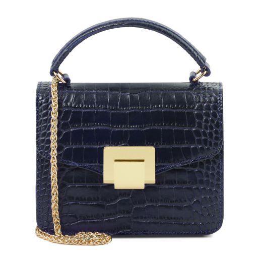 TL Bag Mini bolso en piel efecto coco Azul oscuro TL141890
