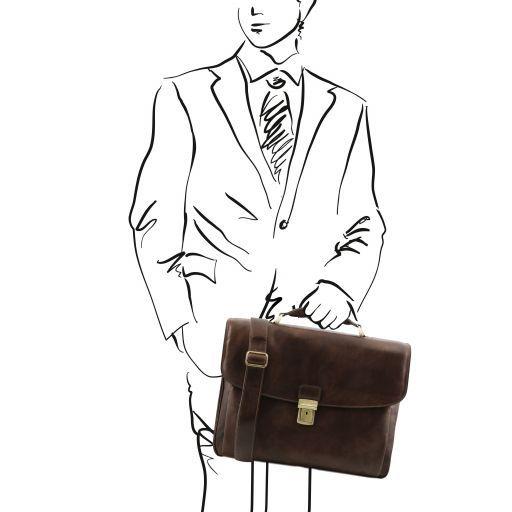 Alessandria Leather multi compartment TL SMART laptop briefcase Dark Brown TL141448