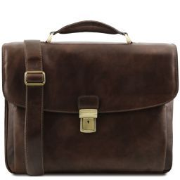 Alessandria Leather multi compartment TL SMART laptop briefcase Dark Brown TL141448