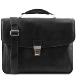 Alessandria Leather multi compartment TL SMART laptop briefcase Black TL141448