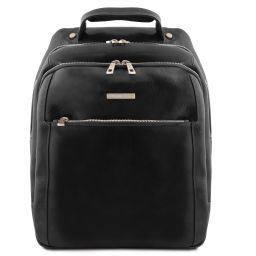Phuket 3 Compartments leather laptop backpack Black TL141402
