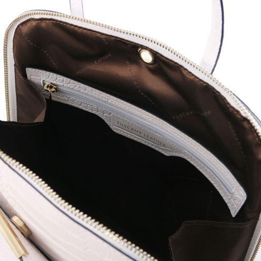 TL Bag Zaino donna in pelle stampa cocco Bianco TL141918