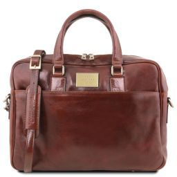 Urbino Two compartments leather laptop briefcase with front pocket Коричневый TL141894