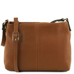 TL Bag Soft leather shoulder bag Cognac TL141720