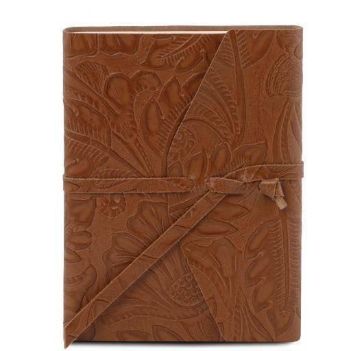 Diario di viaggio in pelle stampa floreale Cognac TL141672