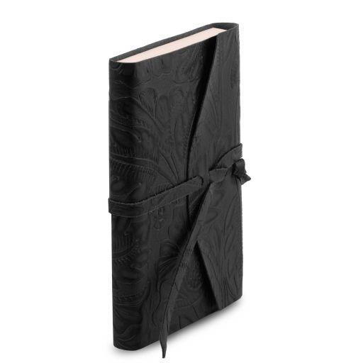 Diario di viaggio in pelle stampa floreale Nero TL141672