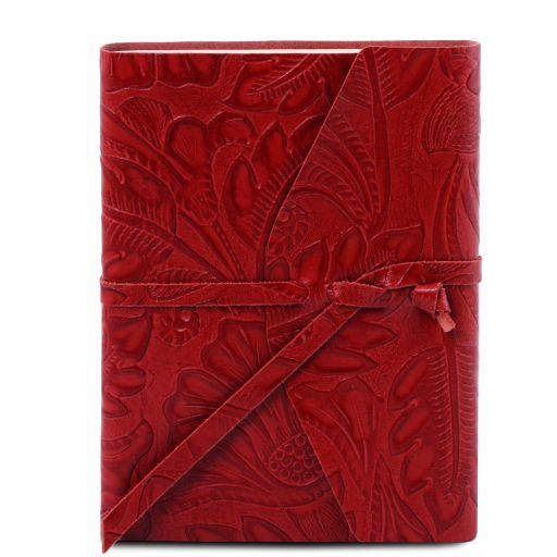 Leather travel diary with floral pattern Red TL141672