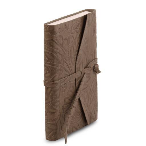 Carnet de voyage en cuir avec motif floral Taupe foncé TL141672