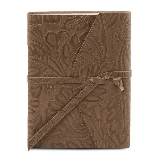 Leather travel diary with floral pattern Темный серо-коричневый TL141672