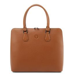 Magnolia Leather business bag for women Cognac TL141809
