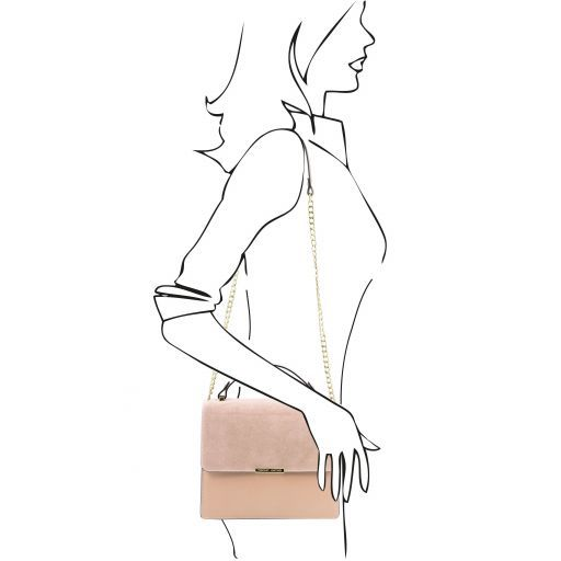 Irene Leather handbag with chain strap Taupe TL141745