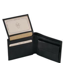 Esclusivo portafoglio uomo in pelle 3 ante Nero TL141377