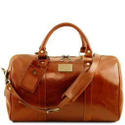 TL Voyager Travel leather duffle bag with pocket on the back side - Small size Honey TL141250
