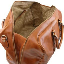 TL Voyager Borsa da viaggio in pelle con tasca frontale Nero TL141401