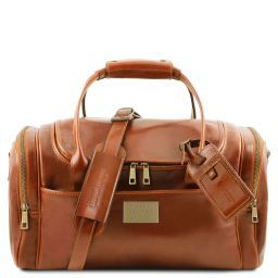 TL Voyager Reisetasche aus Leder mit 2 Reissverschluss Seitentaschen - Klein Honig TL141441