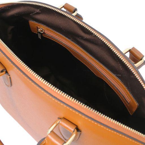 TL KeyLuck Saffiano leather tote Cognac TL141261