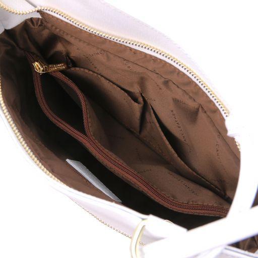 Patty Bolso de señora en piel Saffiano convertible en mochila Blanco TL141455