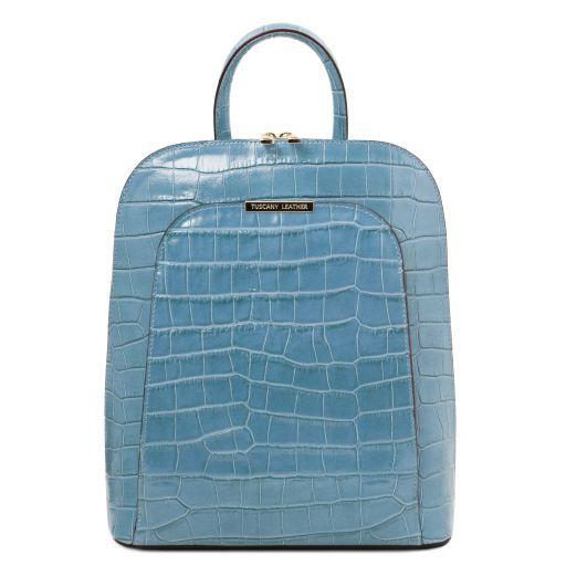 TL Bag Zaino donna in pelle stampa cocco Azzurro TL141969