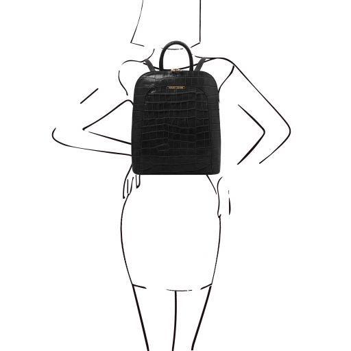 TL Bag Croc print leather backpack for women Black TL141969