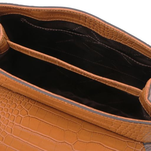TL Bag Bauletto Tasche aus Leder mit Kroko-Prägung Cinnamon TL141887