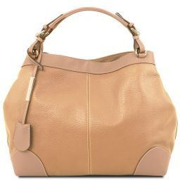 Ambrosia Soft leather shopping bag with shoulder strap Champagne TL141516