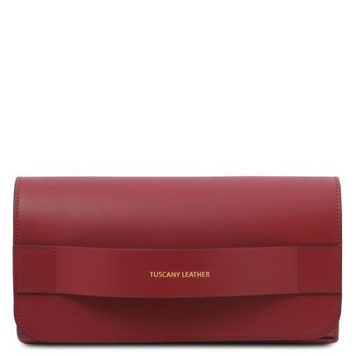 Giulia Leather clutch with chain strap Red TL141970